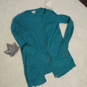 Mossimo Teal Light Fall Cardigan with Pockets